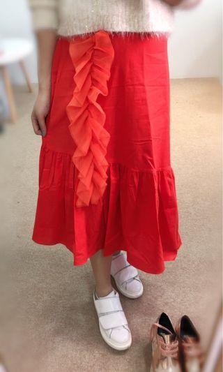 橡筋腰半身ruffles skirt $100 (黑色/橙色)韓國free size (最大29腰可穿)