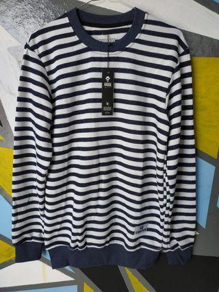 Sweater stripe navy putih
