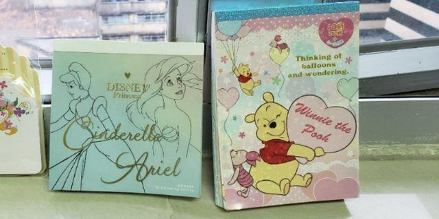 日本 迪士尼 cinderella pooh ariel memopad