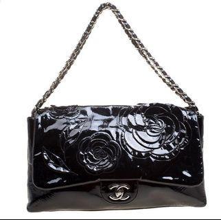 Rare!! Gorgeous Chanel Patent Camelia Flap