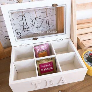 🚚 簡單雜貨-鄉村風白色6格茶包收納盒