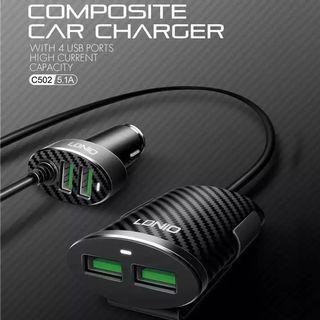 ORIGINAL LDNIO INCAR CHARGER 4 USB PORT 5.1A AUTO-ID