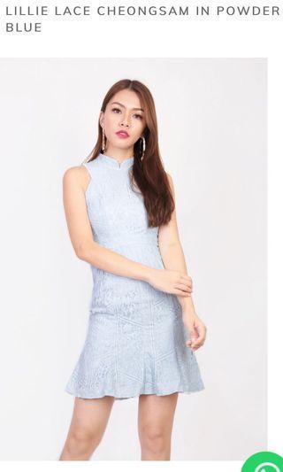 MGP Label powder blue lace cheongsam dress