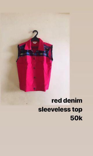 Red Denim Top