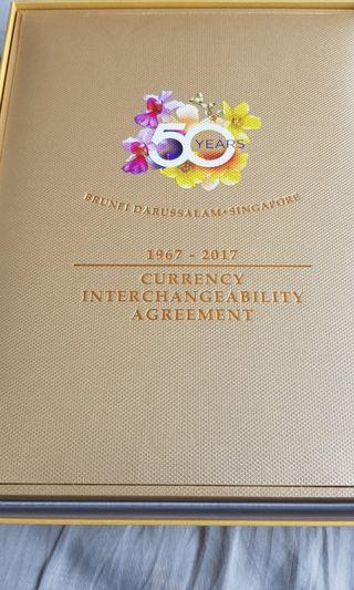 Brunei Singapore 3 in 1 uncut edition 1967-2017 Currency Interchangeability Agreement Box Set