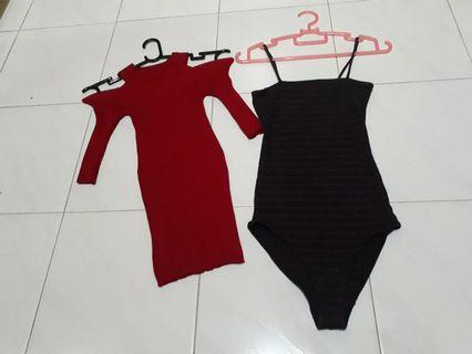 2 For $16=Bodycon top or dress in red n Bodysuit with Navy n red stripes design. Turn to 2nd page.
