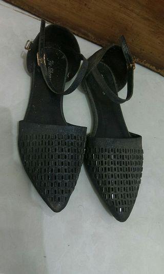 glitter navy flatshoes import