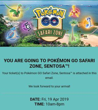 Selling Pokemon Go Safari Zone Sentosa on 19 Apr 2019 (Good Friday)