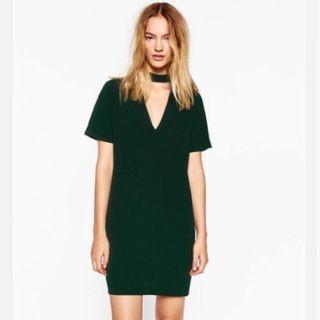 Selling small zara green choker dress