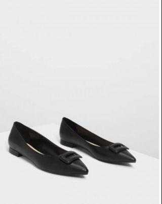 Wrapped buckle detail ballerinas by Charles and Keith