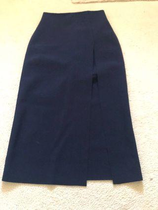 Scanlan Navy Slit Skirt