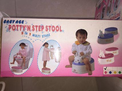 Children 3-in-1 Potty, Step Stool, toilet seat ( Pink )