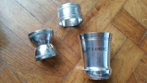 Silver cup, egg and napkin holder