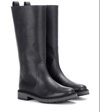Fendi Rubber Boots with Sheep Fur Lining 37 BNIB
