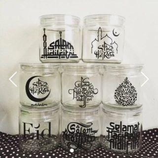 Sticker Decal only No jar Hari Raya Cookie Jar Container Sticker Decal label - Sets of 6.