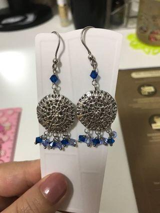 Earrings 925 Italy hand made 純銀手工製作 意大利水晶 耳環