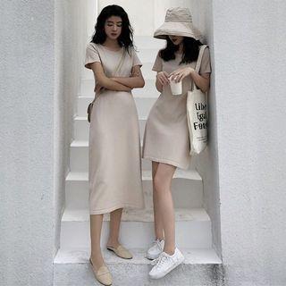 2 lengths! Minimalist Dress casual ulzzang loose dress bodycon tshirt t tee shirt dress