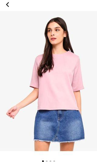 Zalora dusty pink mid sleeve top with back detail