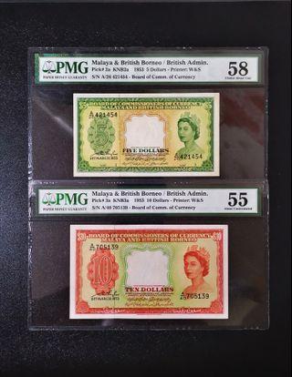 🔥Promotion Sale🔥 1953 Malaya & British Borneo Queen Elizabeth II $5 & $10 Banknote~PMG 55/58 Choice About UNC