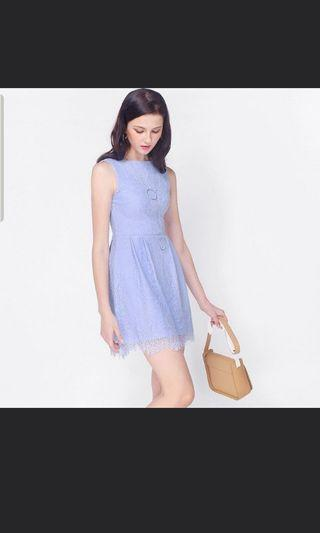 (On Sale) Fayth Loewe Lace Dress in Pastel Periwinkle