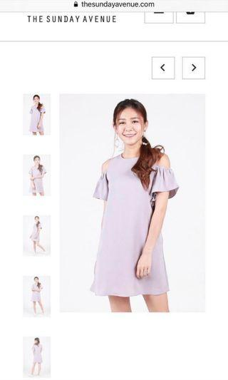 🚚 TSA SOLENNE COLD SHOULDER DRESS IN LILAC GREY S
