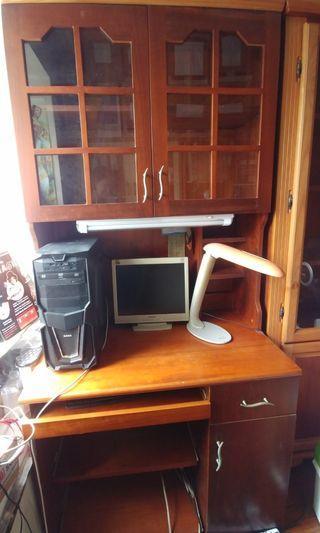 電腦枱連櫃 胡桃木色