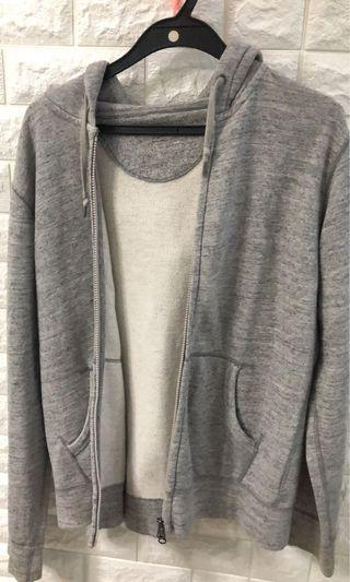 uniqlo grey zip up hoodie/jacket