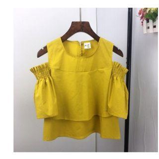 Brand New Korean Sleeveless Lemon Yellow Off Shoulder Sexy top