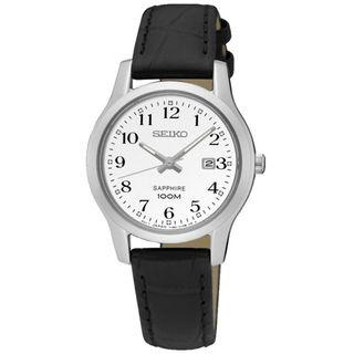 SEIKO / SXDG91P1  / QUARTZ / LADIES / 28 MM / 10ATM  / WHITE DIAL / BLACK LEATHER STRAP