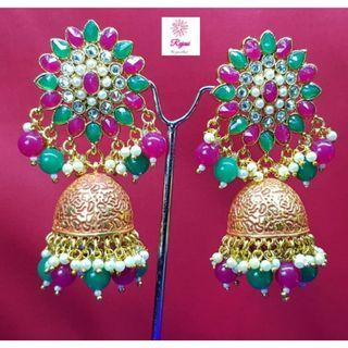 NCK19-129 Big Pearl Jhumkas with Red and Green stones