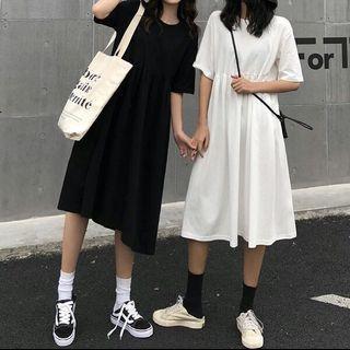Black/White Babydoll Dress loose casual oversize dress short sleeve