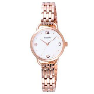 SEIKO / SUR672P1 / QUARTZ / LADIES / 26 MM / 5ATM  / WHITE DIAL / ROSE GOLD PLATED STAINLESS STEEL BRACELET