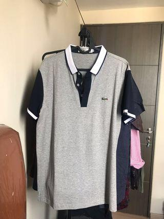 Lacoste Grey and Navy Blue Polo Shirt