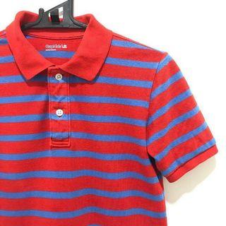 gap red and blue striped polo tee
