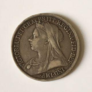 Great Britain 1893 Queen Victoria Silver One Crown Coin