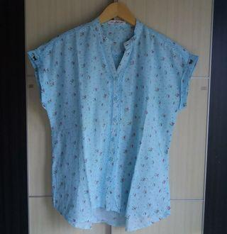 Blue flowery blouse