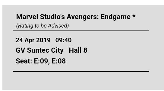 🚚 Pair of Avengers Endgame Tickets, Wed 24 Apr, 9.40am, Suntec