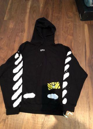Size M: Off White Stamp Hoodie Black