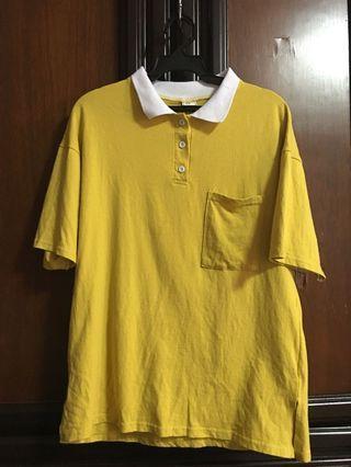🚚 薑黃色短袖印刷T恤