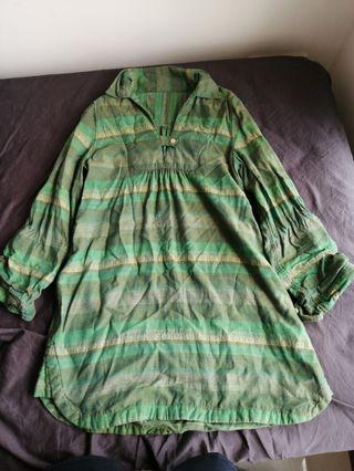 🚚 Green Stripes Long Tunic Top