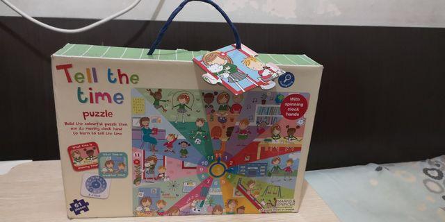 全新 M & S Tell the time puzzle for 3yrs kids