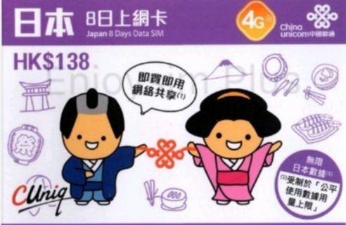 (包平郵)Softbank 日本8日 4G LTE 無限使用 電話卡 上網卡 數據卡 SIM 卡(首3GB 4G其後無限3G)