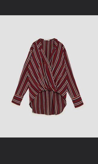 Zara stripes flowing shirt blouse bukan h&m bershka stradivarius