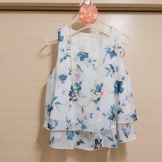 甜美 清新 花花雪紡背心 花卉 藍色 雪紡上衣 短版