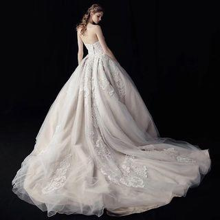 Wedding Dress (Nude White Lace Ball Gown)