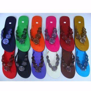 Brand New Black Color Silk Beads Slipper Size 4/35