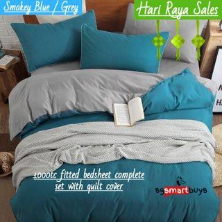 🔥1000TC Soft🔥 Smooth Fitted Quilt Cover Bedsheet Set