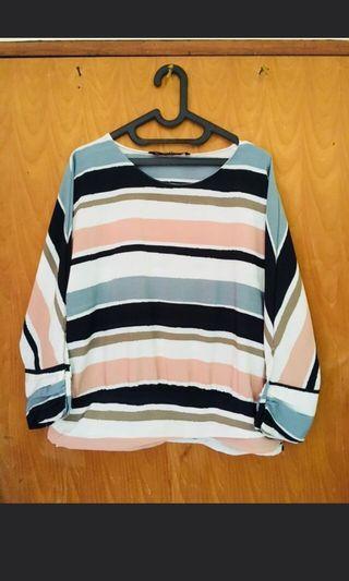 Zara stripes contrasting blouse bukan h&m bershka stradivarius