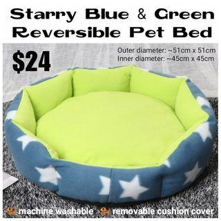 Reversible Pet Bed (Starry Blue & Green)