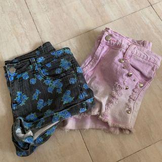 Denim shorts dyed floral f21 forever21